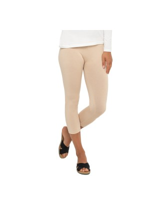 Celodoro Damen Leggings (3/4 Capri), Stretch-Jersey Hose aus Baumwolle - Beige