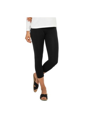 Celodoro Damen Leggings (3/4 Capri), Stretch-Jersey Hose aus Baumwolle - Schwarz