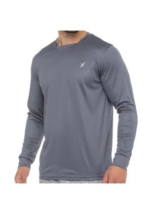 CFLEX Herren Fitness Shirt Langarm, Sporthemd Longsleeve, Quickdry Piqué - Grau