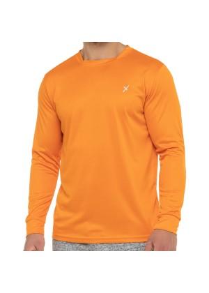 CFLEX Herren Fitness Shirt Langarm, Sporthemd Longsleeve, Quickdry Piqué - Orange