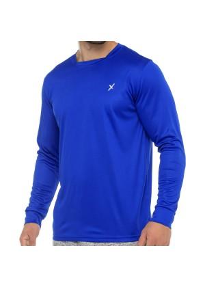 CFLEX Herren Fitness Shirt Langarm, Sporthemd Longsleeve, Quickdry Piqué - Royal