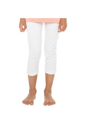 Celodoro Kinder Leggings (3/4 Capri), Stretch-Jersey Hose aus Baumwolle - Weiss
