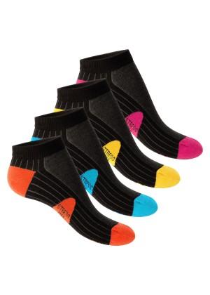 4 Paar Footstar STRESS FREE Sneaker Socken Schwarz-Bunt
