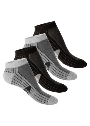 4 Paar Footstar STRESS FREE Sneaker Socken Schwarz-Grau
