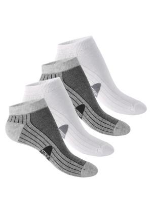 4 Paar Footstar STRESS FREE Sneaker Socken Grau-Weiss
