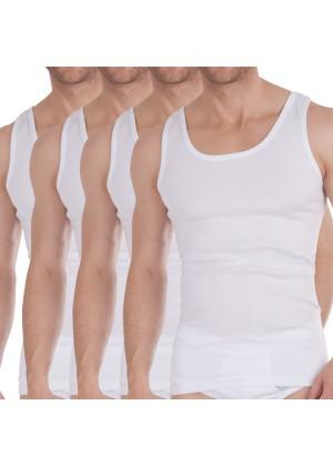 Celodoro Herren Bio Unterhemden (4er Pack) Herren Feinripp Shirts ärmellos - Weiss