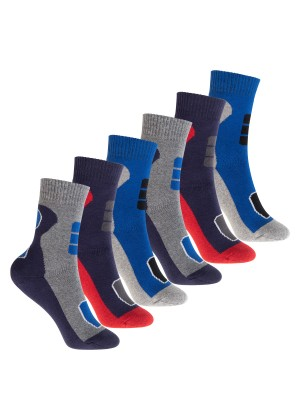Footstar Kinder Outdoor Socken (6 Paar), Bunte Vollfrottee Socken mit Thermo-Effekt - Variante 2 Blau Rot