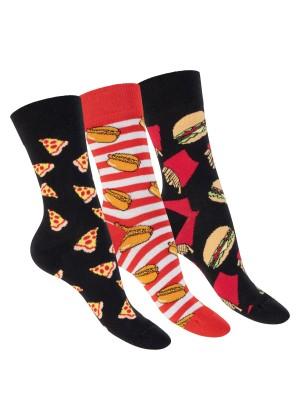 Footstar Damen & Herren Bunte Motiv Socken (3 Paar), Lustige Baumwoll Socken - Junkfood