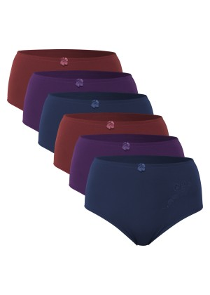 Celodoro Damen Taillenslip (6er Pack) Microfaser-Slip mit Stickerei - Berrytöne