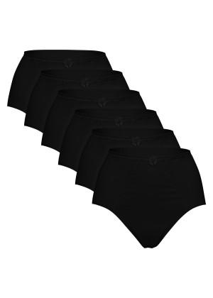 6er Pack Damen Slip Taillenslip weich und sanft - auch für große Größen - Schwarz