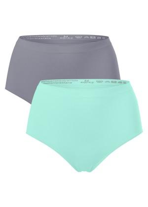 2er Pack Damen-Taillenslip - seamless - mint & grau