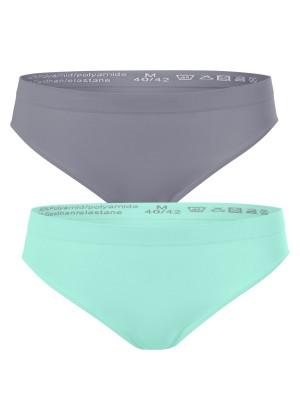 2er Pack Damen Slip Seamless ohne Naht - mint-grau