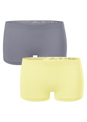 2er Pack Damen-Pant-seamless Gelb-Grau