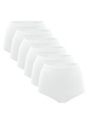 6er Pack Damen Taillenslips - weiss