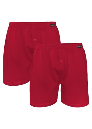 2er Pack Herren Single Jersey Boxershorts Deep Red