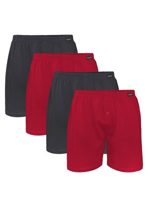4er Pack Herren Single Jersey Boxershorts 2x Anthrazit + 2x Deep Red