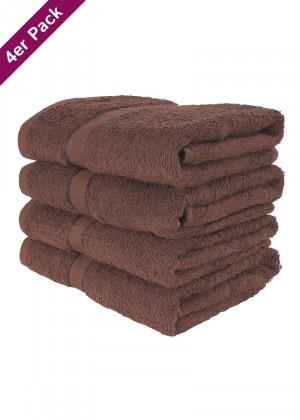 4 weiche Frottee Handtücher 50x90 von TERRYLAND Cappuccino Brown