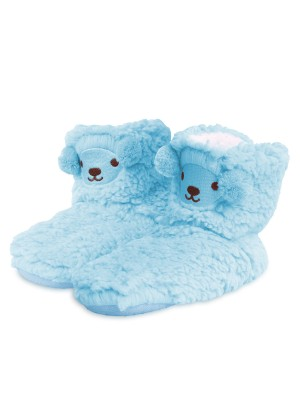 Footstar Jungen & Mädchen Plüsch Hausschuhe (1 Paar), Kuschelige Teddy Stoppersocken - Hellblau