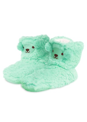 Footstar Jungen & Mädchen Plüsch Hausschuhe (1 Paar), Kuschelige Teddy Stoppersocken - Hellgrün