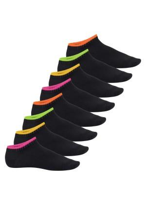 8 Paar Damen Sneaker Neon Flash Schwarz