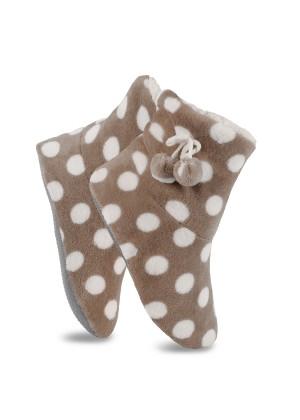 Celodoro Damen Plüsch Haussocken (1 Paar) Kuschelsocken aus Fleece mit ABS - Taupe