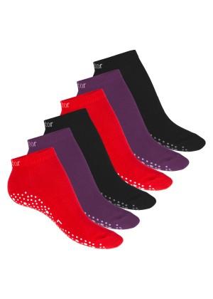 Celodoro Damen Pilates & Yoga Sneaker Socken (6 Paar), Kurze Sportsocken mit ABS - Berry