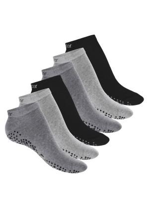 Celodoro Damen Pilates & Yoga Sneaker Socken (6 Paar), Kurze Sportsocken mit ABS - Classic Grey