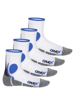 CFLEX Damen und Herren Running Funktions-Socken (4 Paar) Laufsocken - Weiss-Blau
