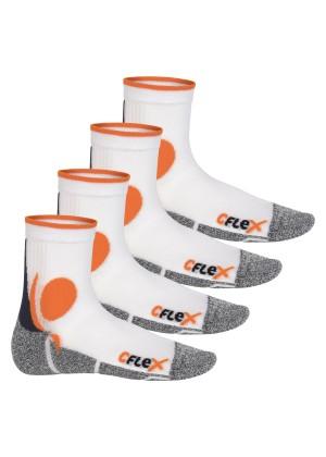 CFLEX Damen und Herren Running Funktions-Socken (4 Paar) Laufsocken - Weiss-Orange