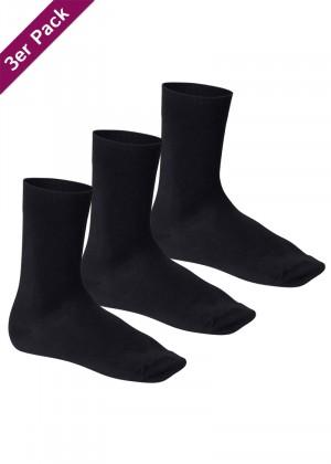 3 Paar Footstar Komfort Premium Socken Frotteesohle schwarz