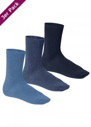 3 Paar Footstar Komfort Premium Socken Frotteesohle jeans blau