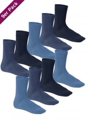 9 Paar Footstar Komfort Premium Socken Frotteesohle jeans blau