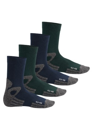 Celodoro Damen und Herren Trekking-Socken (4 Paar), Arbeitssocken mit Frotteesohle - Blau-Grün
