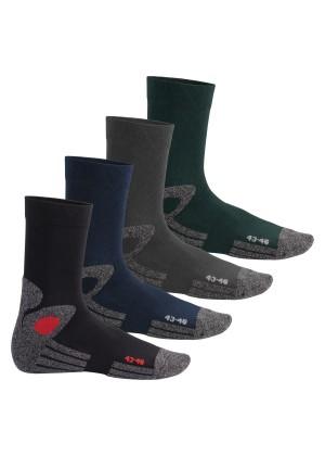 Celodoro Damen und Herren Trekking-Socken (4 Paar), Arbeitssocken mit Frotteesohle - All Colours