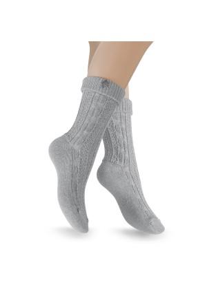 2 Paar Trachten Socken mit Edelweiß-Pin - grau