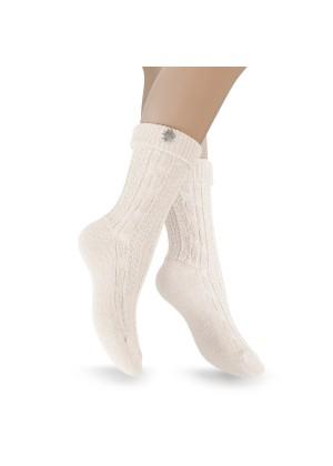 2 Paar - Trachten Socken mit Edelweiß-Pin - wollweiß