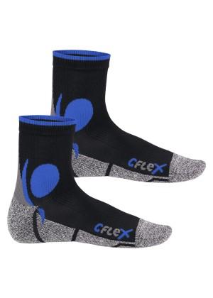 CFLEX Damen und Herren Running Funktions-Socken (2 Paar) Laufsocken - Schwarz-Blau