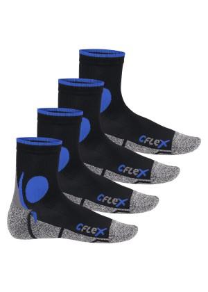 CFLEX Damen und Herren Running Funktions-Socken (4 Paar) Laufsocken - Schwarz-Blau