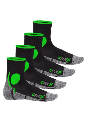 4 Paar Original CFLEX Laufsocken - schwarz/grün