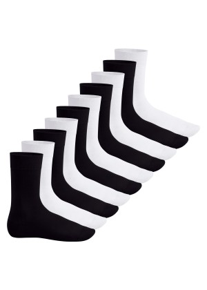 Footstar Herren & Damen Baumwollsocken (10 Paar), Klassische Socken aus Baumwolle - Everyday! - Schwarz / Weiss Mix (5x Schwarz + 5x Weiss)