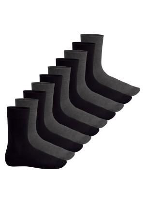 Footstar Herren & Damen Baumwollsocken (10 Paar), Klassische Socken aus Baumwolle - Everyday! - Anthra-schwarz