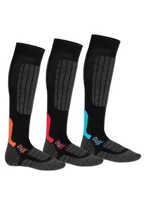 3 Paar CFLEX HIGH PERFORMANCE Ski- und Snowboard Socken im 3-Farb-Pack