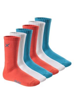 6 Paar CFLEX LIFESTYLE Unisex long Crew Socks Blue Coral Mix