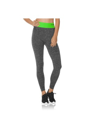 CFLEX Damen Sportswear Leggings, Seamless mit farbigem Komfortbund - Neongrün