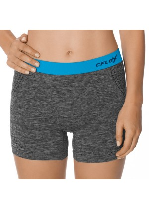 CFLEX Damen Sportswear Pants, Kurze Hose ohne Nähte mit farbigem Komfortbund - Blau
