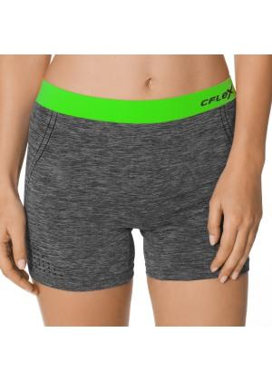 CFLEX Damen Sportswear Pants, Kurze Hose ohne Nähte mit farbigem Komfortbund - Neongrün