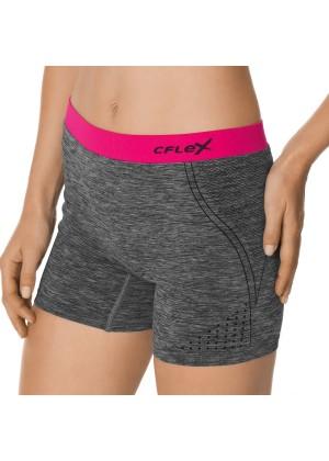 CFLEX Damen Sportswear Pants, Kurze Hose ohne Nähte mit farbigem Komfortbund - Pink