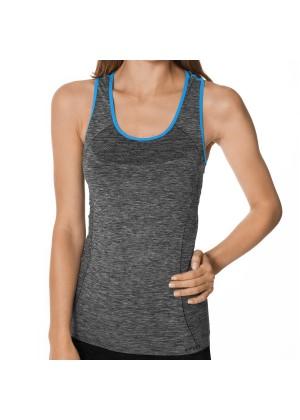 CFLEX Damen Sportswear Seamless Tank Top, Ärmelloses Strech-Oberteil Melange - Blau