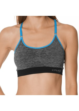 CFLEX Damen Sportswear Bustier, Seamless Sports Bra ohne Bügel, Spaghetti-Träger - Melange Blau