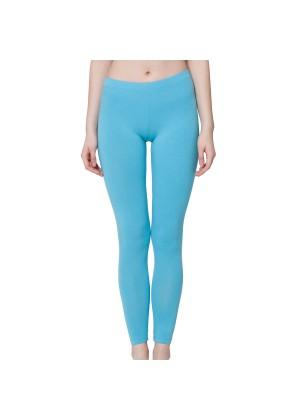 Celodoro Damen Leggings, stretchige Jersey Hose aus Baumwolle - Hellblau